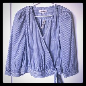 Madewell blue and white striped blouse.